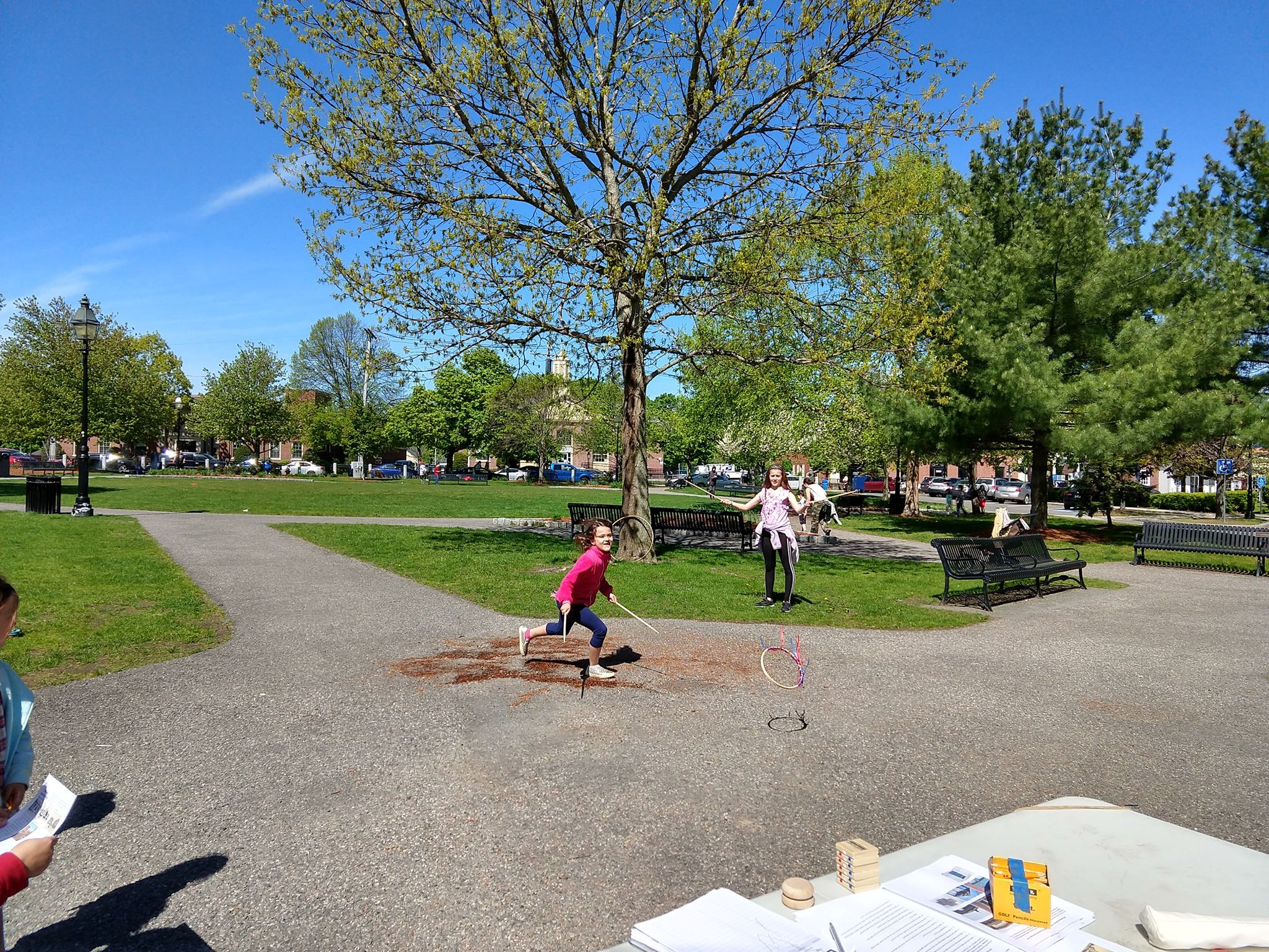 "Playing historic game ""graces"" on the Stoneham Town Common"