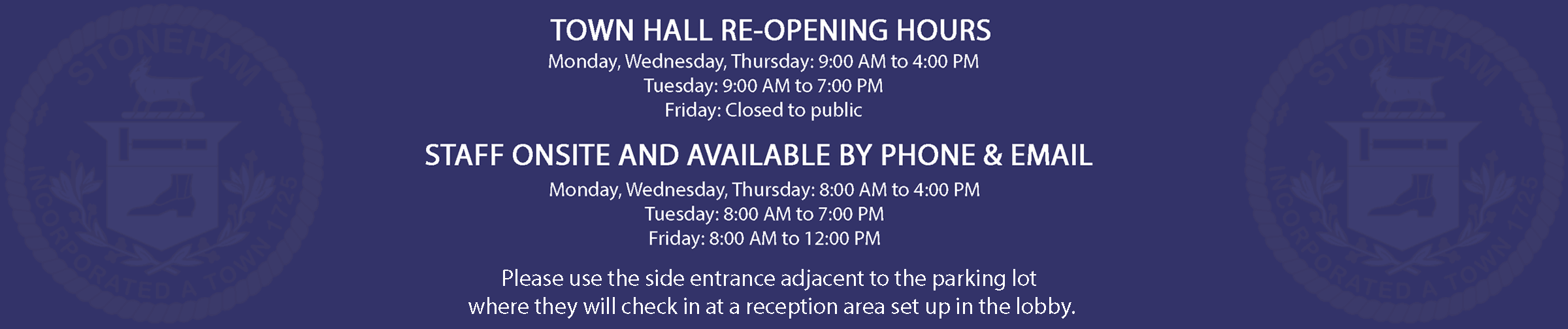 Town Hall Re-Opening Hours