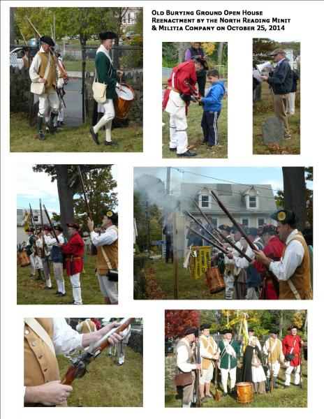 Collage of reinactment photos at the Old Burying Ground on October 25, 2014.