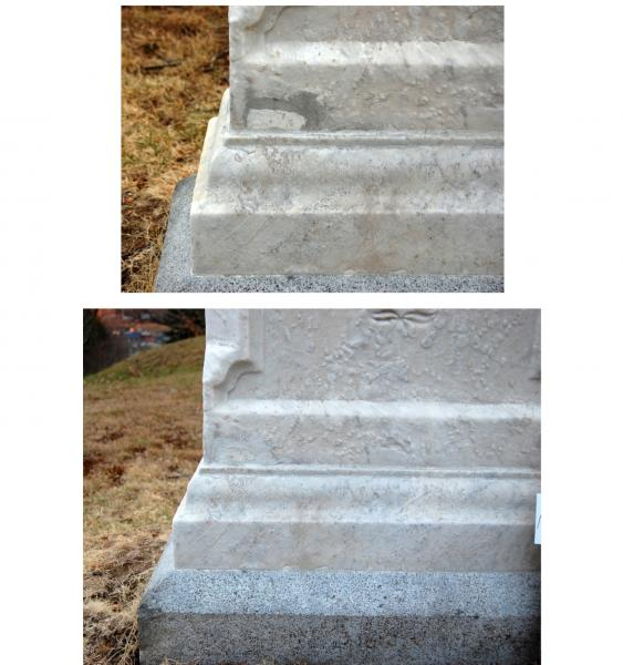 Before and After of the Repaired Corner of Colonel Gould Grave