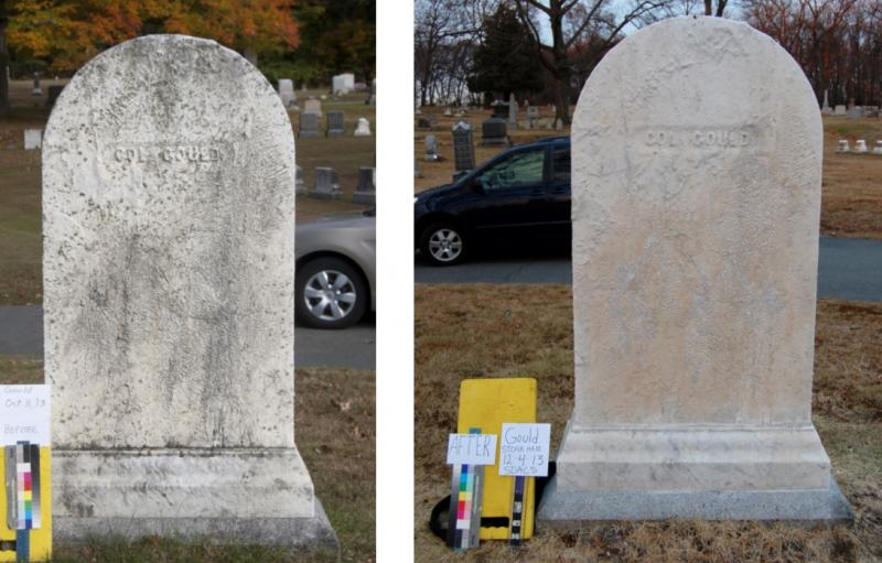 Before and After of the Back of Colonel Gould Grave