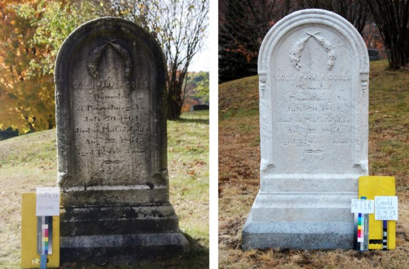 Before and After of the Front of Colonel Gould Grave